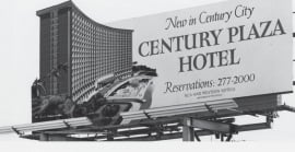 A black and white photo of a sign for the Century Plaza Hotel.