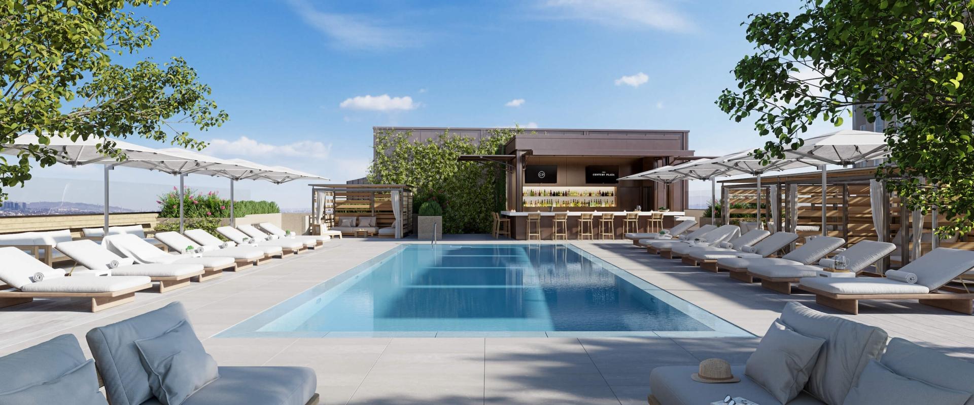 The rooftop pool at Fairmont Century Plaza, Century City, LA.
