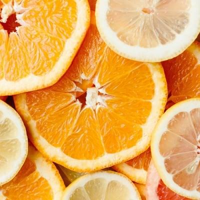 Slices of organges, lemons and grapefruit.