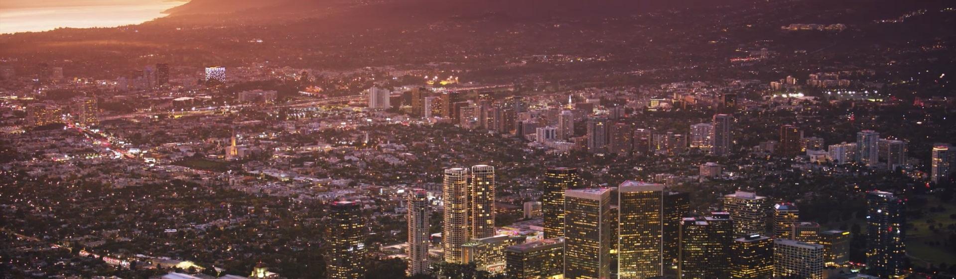 LA sunset aerial