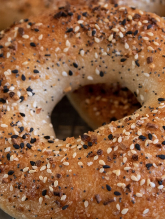 Close up on homemade everything bagels made from scratch.