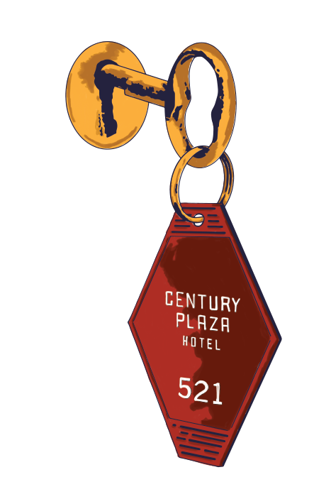 An illustration of a Century Plaza hotel key.