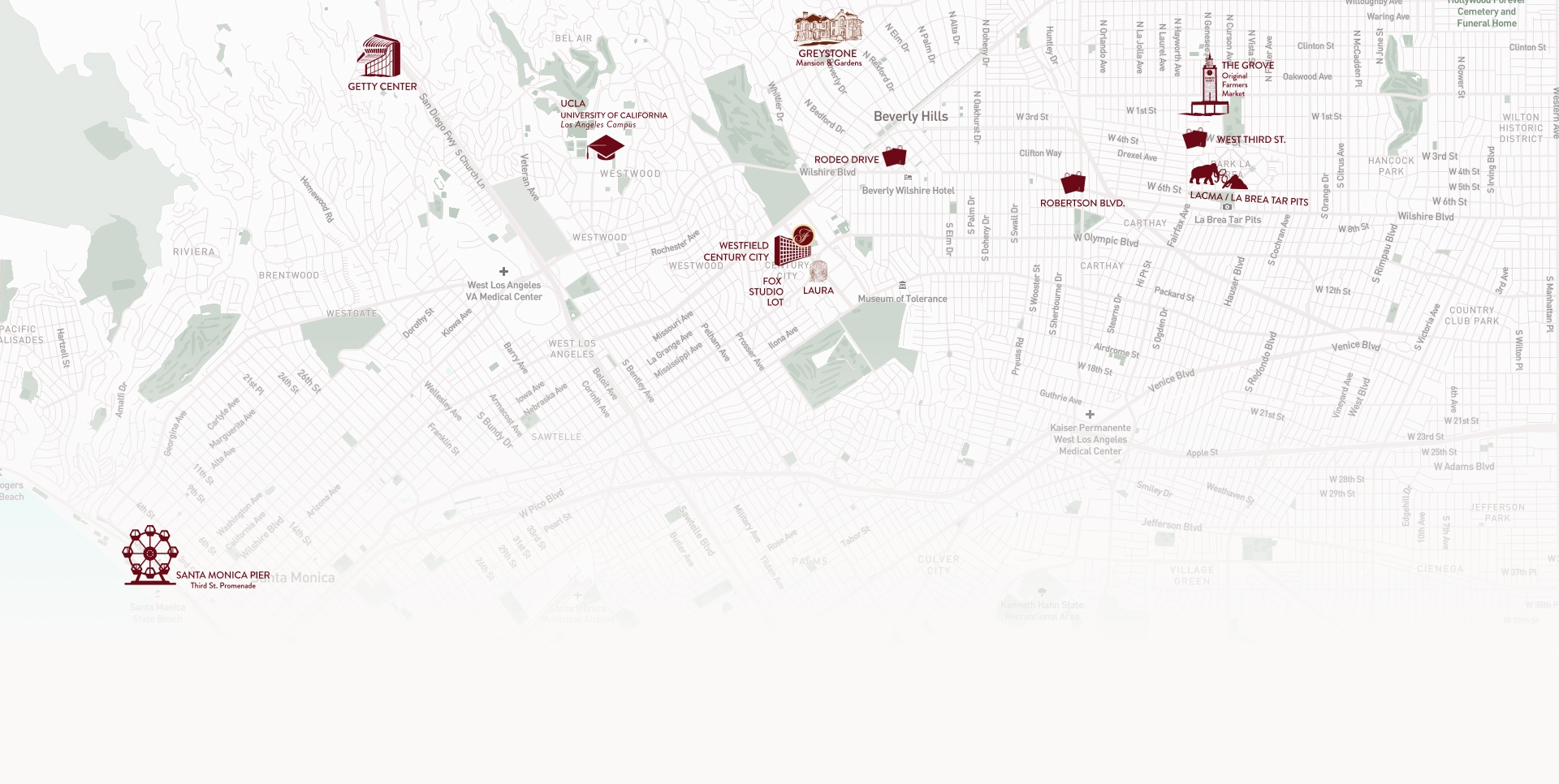A map of LA with landmarks.