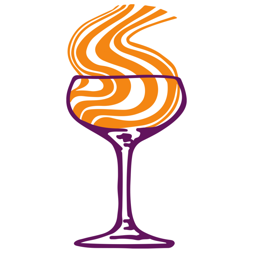Digital design of a wine glass with smoke rising out of the glass.