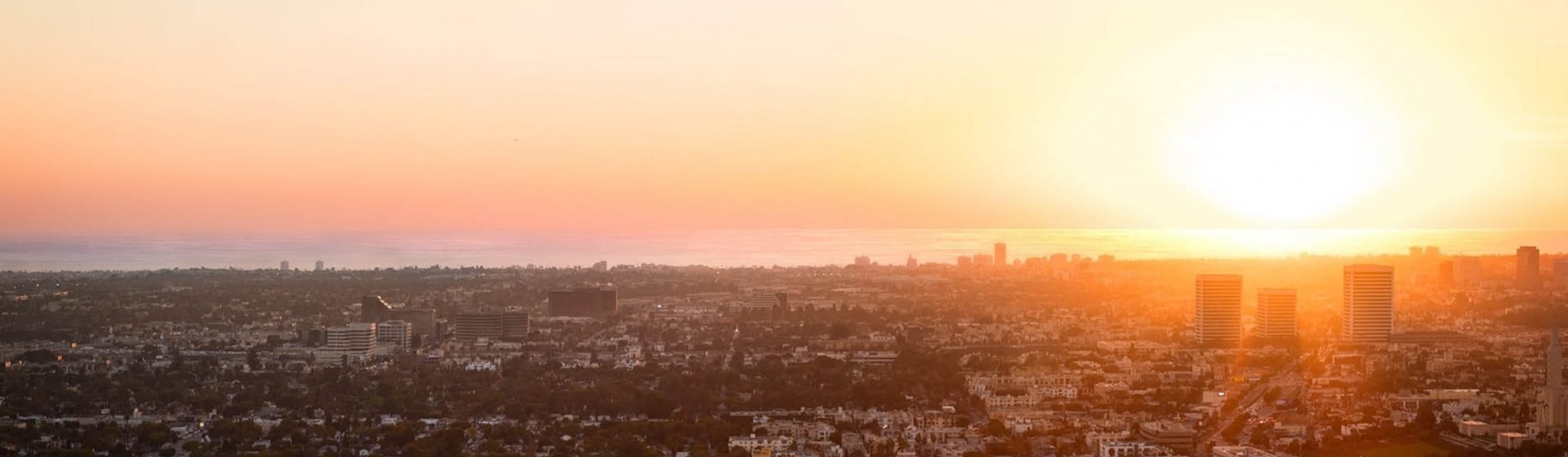 A view of the LA skyline at sunset.