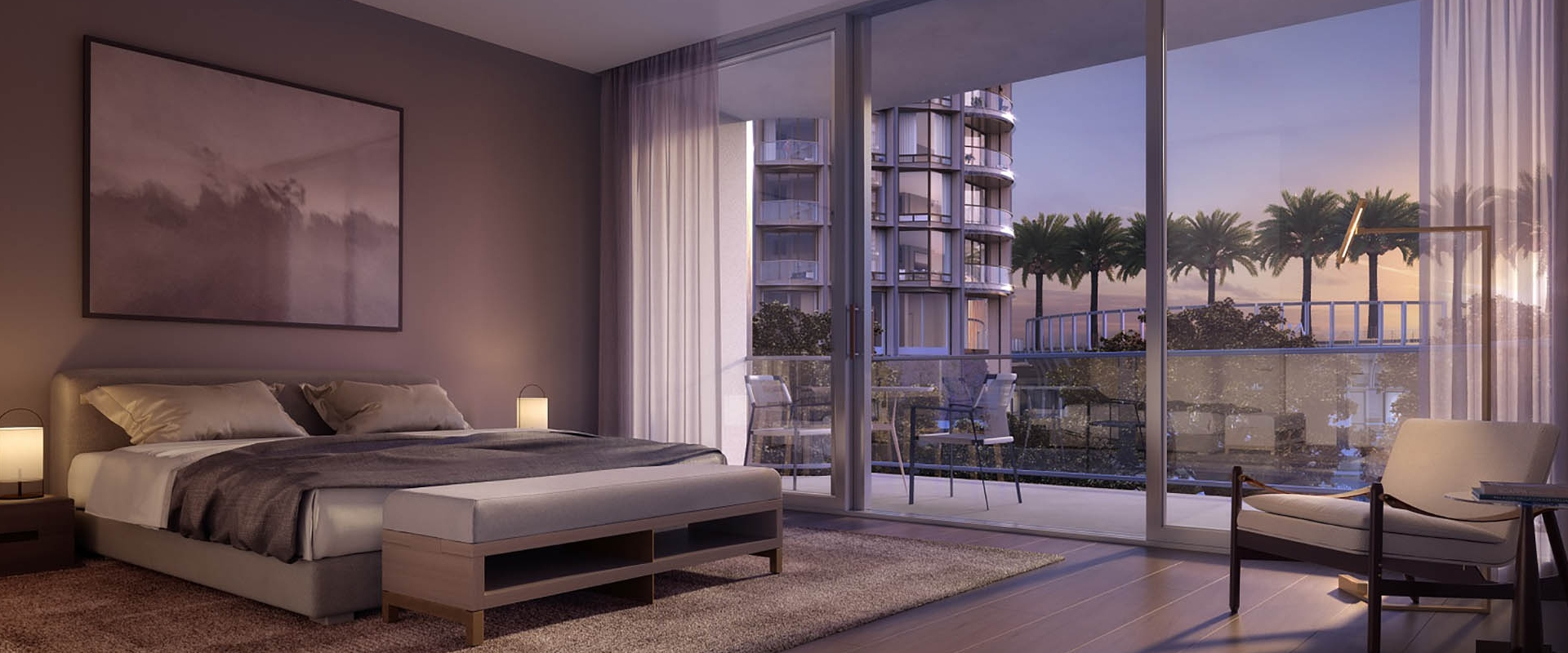 A digital rendering of a King bedroom hotel room at Fairmont Century Plaza.